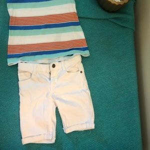 Girls white stretchy jeans shorts size 6